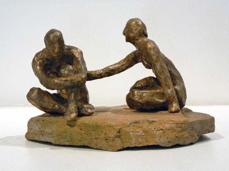 Comfort -figurative bronze on stone sculpture by New York artist Noa Bornstein  - Contemporary Sculpture by Noa Bornstein