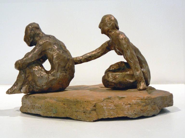 Comfort -figurative bronze on stone sculpture by New York artist Noa Bornstein  - Gold Figurative Sculpture by Noa Bornstein