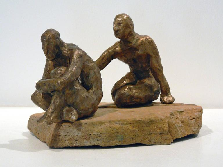 In this small interactive repositionable bronze sculpture, Noa Bornstein invites the viewer to turn and manipulate the figures in relation to each other. This creates a reflection on relationship that is very interesting to the artist. Each figure