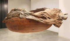 Barca Pez (Fish Boat) -Suspended wood sculpture by Chilean artist Pillar Ovalle