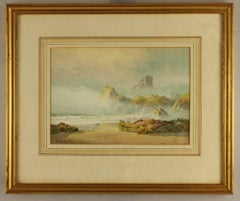 Mist at Asparagus Island and Bishop Rock, Kynance Cove by Claude Montague Hart