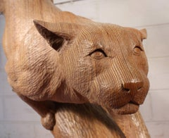 Life Sized Puma Carving By Bill Prickett