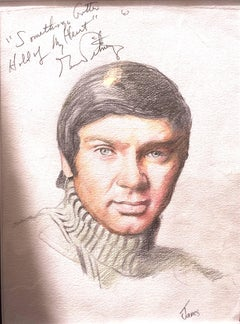 GENE PITNEY An original coloured pencil sketch annotated by Pitney