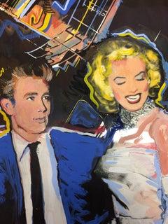 JAMES DEAN AND MARILYN  MONROE Original Artwork for 1984 Postcards