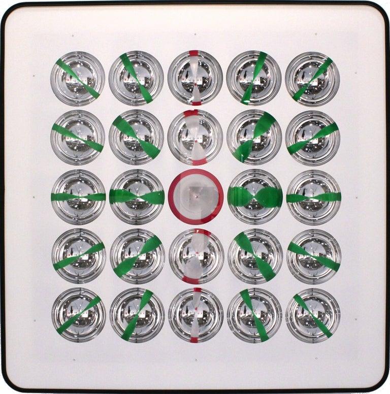 Franco Costalonga- Oggetto cromocinetico (chromocinetic object)  Metallized plexiglas and acrylic, 1972  Dimensions: 100 cm x 100 cm  Italy