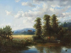 Landscape with cornfield and fishermen