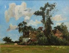 A farmstead during summer