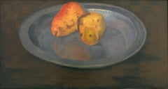 Two pears on a tin plate