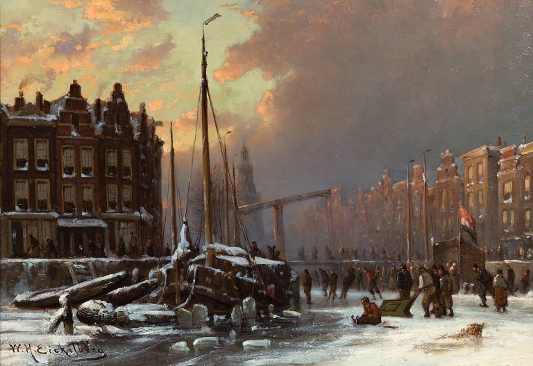 Skaters on a frozen canal, Amsterdam - Painting by Willem Hendrik Eickelberg