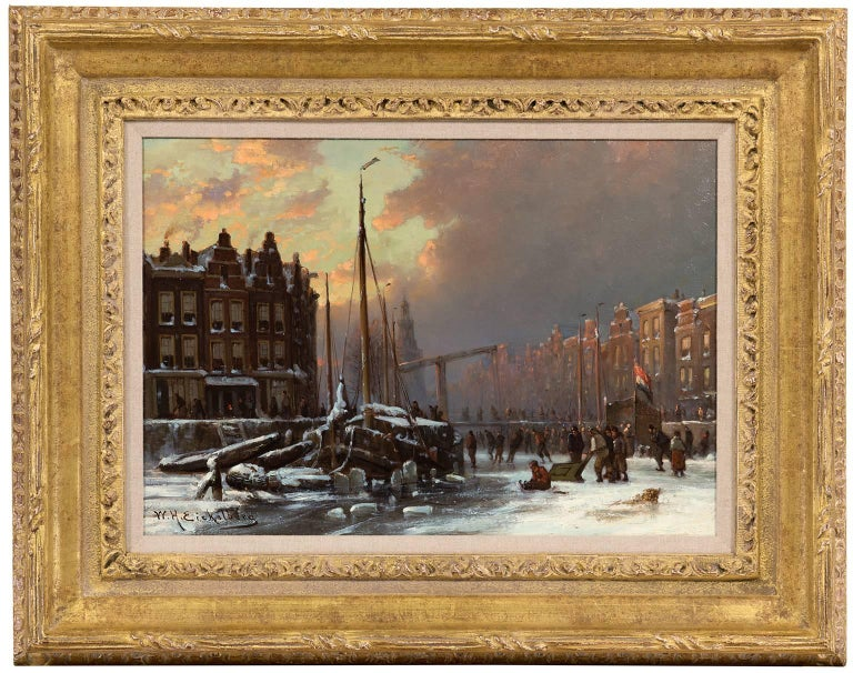 Willem Hendrik Eickelberg Landscape Painting - Skaters on a frozen canal, Amsterdam
