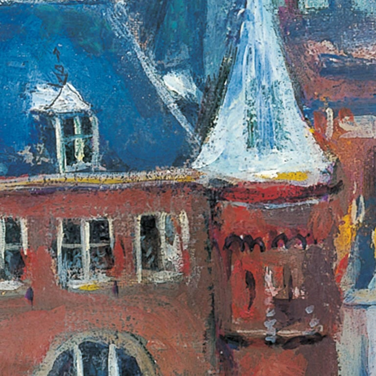 The Nieuwmarkt in Amsterdam, with the Waag - Gray Landscape Painting by Jan Wiegers