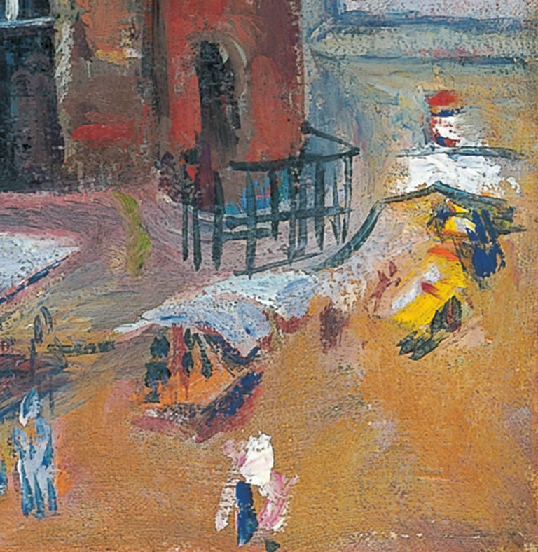 The Nieuwmarkt in Amsterdam, with the Waag - Expressionist Painting by Jan Wiegers
