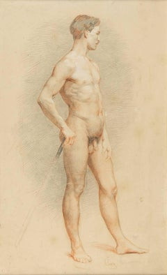 Academic study of nude man with a cane