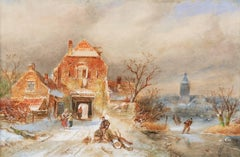 A town in winter with skaters