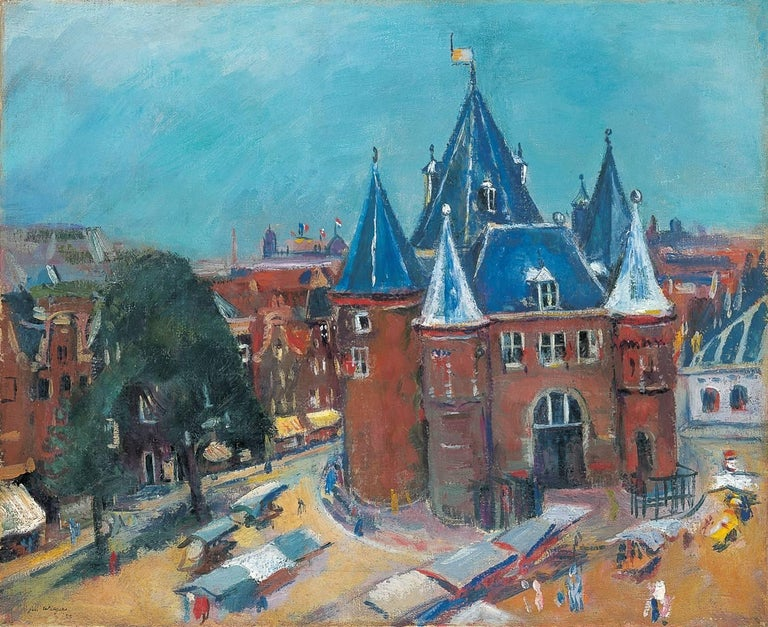 Jan Wiegers Landscape Painting - The Nieuwmarkt in Amsterdam, with the Waag
