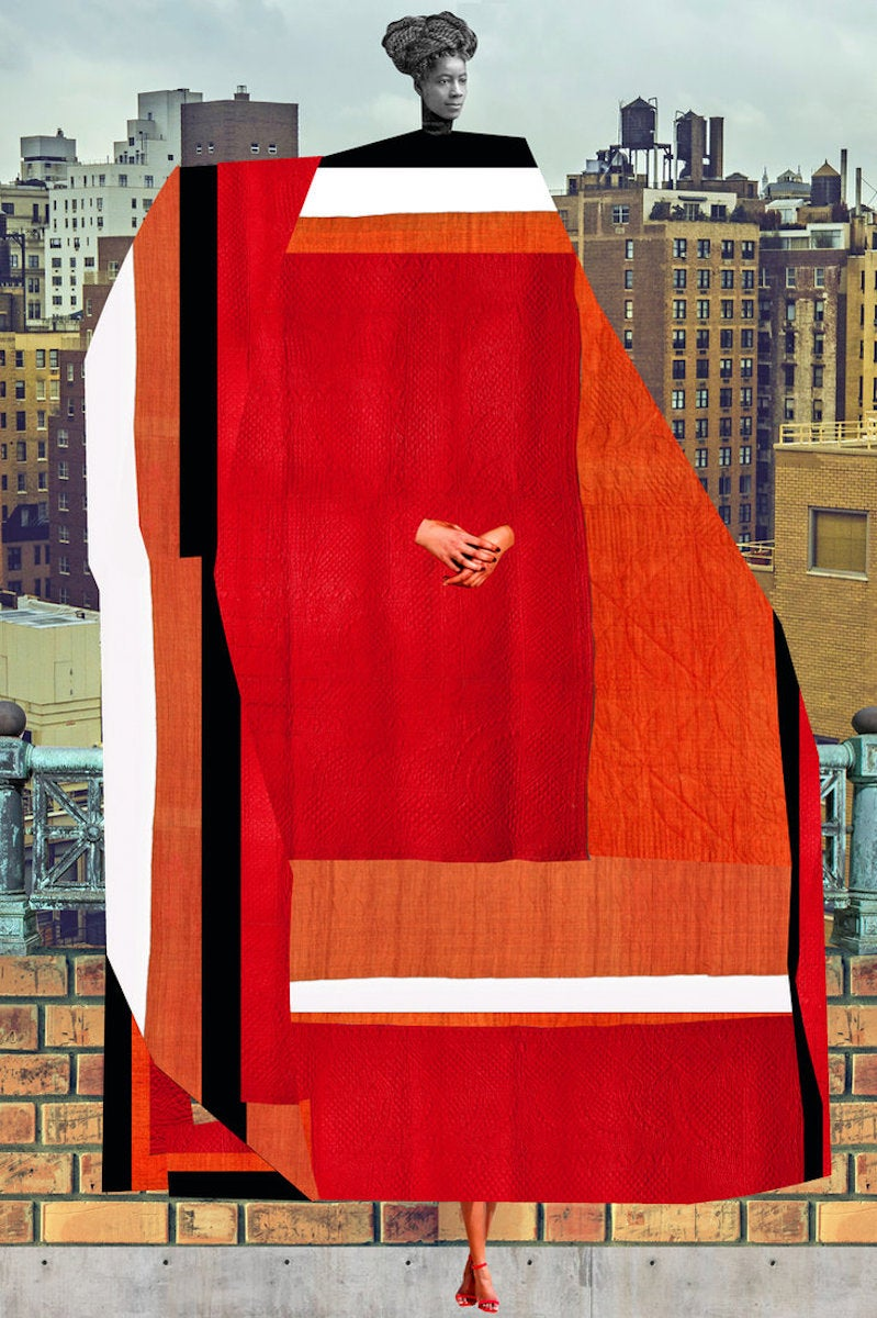 Plate No. 197 (Abstract, Collage, Red, High Rises)
