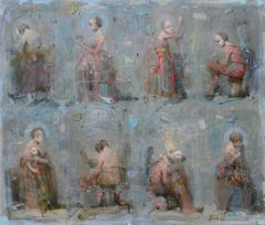 "Vachagan Narazyan, ""Ladies & Clowns,"" 27.25in x 23.25in, oil on canvas"