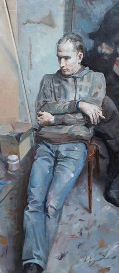 "Iliya Mirochnik, ""Portrait of Artyom Norsov,"" 63in x 29.5in , oil on canvas"