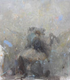 """Vachagan Narazyan, """"Taming,"""" Grey Horse and Rider, 35in x 39in, oil on canvas"""