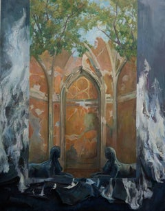 """Iliya Mirochnik, """"Where they have Burned Books"""", 48in x 60in, oil on canvas"""