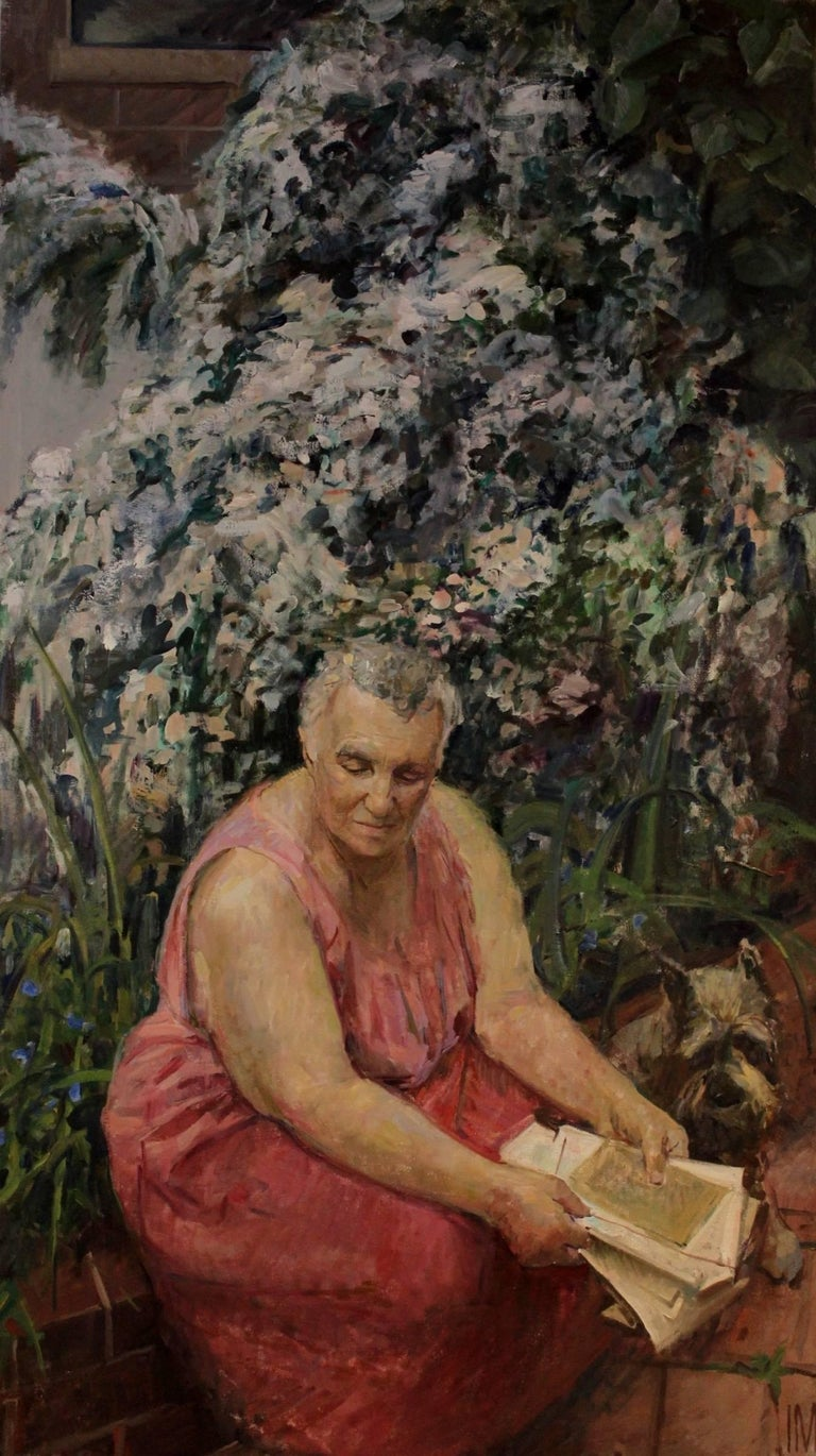 Iliya Mirochnik's portrait of his grandmother is exemplary of the artist's capacity to connect cultures and paint of our times. This is not simply a nostalgia painting of an elderly, Russian woman with a kerchief, but rather an authentic