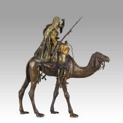 Vienna Bronze of an Arab Warrior on Camel by Bergman