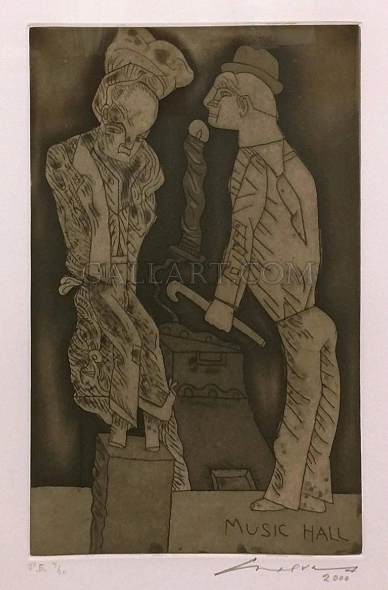José Luis Cuevas Portrait Print - UNKNOWN TITLE (MUSIC HALL)