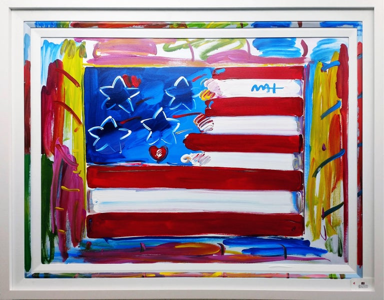 peter max flag with heart painting for sale at 1stdibs. Black Bedroom Furniture Sets. Home Design Ideas