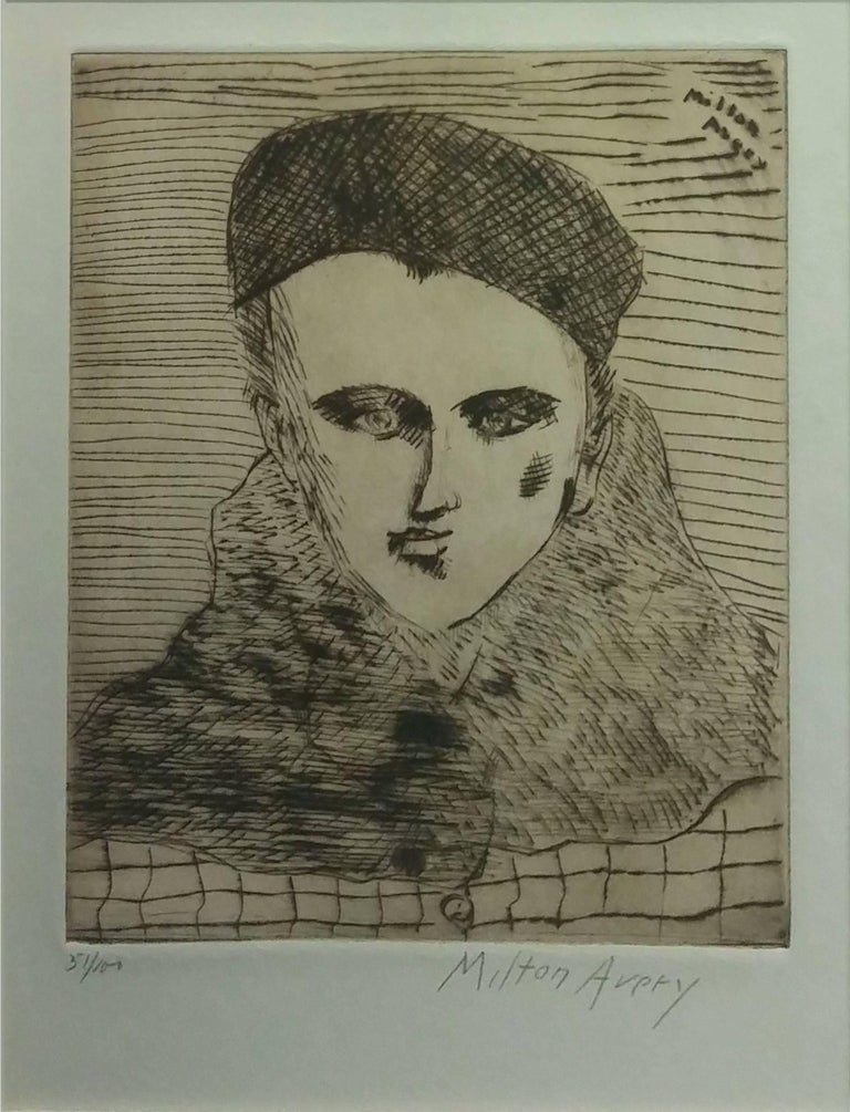 Milton Avery Portrait Print - SALLY WITH BERET
