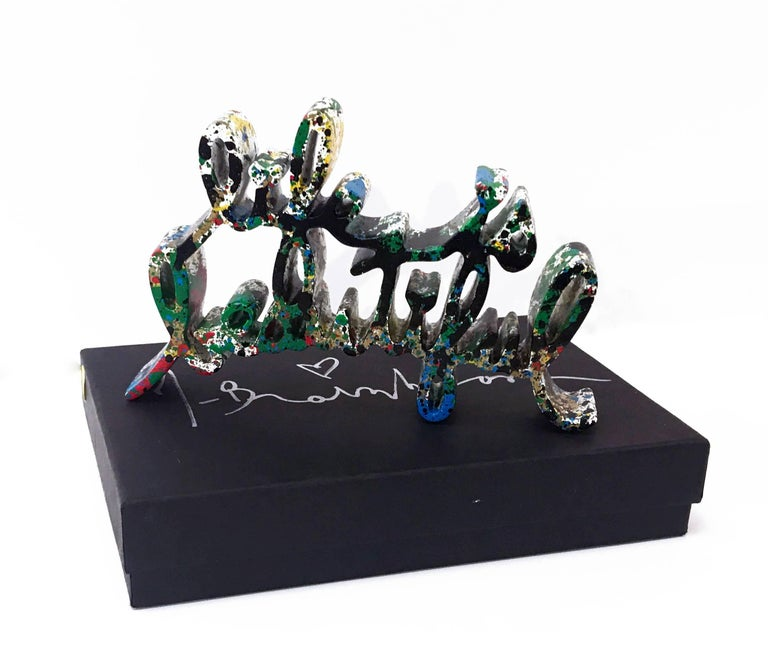 Hand signed, numbered 1/1 and dated on bottom by the artist. One of a kind variant.  The Life is Beautiful sculpture is made from durable cast resin, thermal coated in a classic Mr. Brainwash color and hand painted by the artist. Includes foam