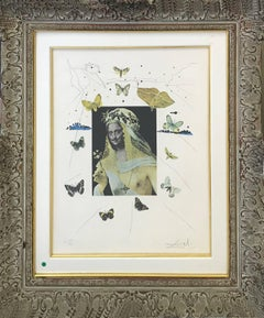 SURREALISTIC PORTRAIT OF DALI SURROUNDED BY BUTTERFLIES