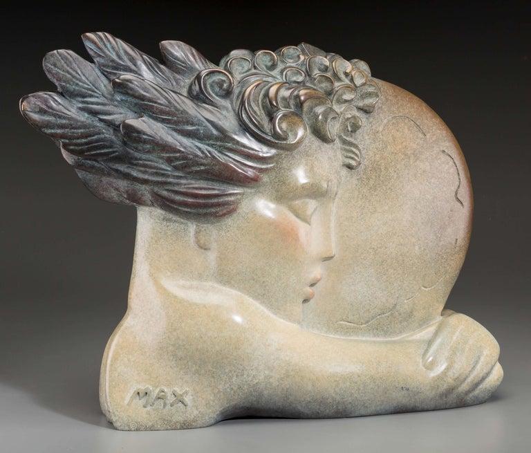 Peter Max Figurative Sculpture - I LOVE THE WORLD (BRONZE)
