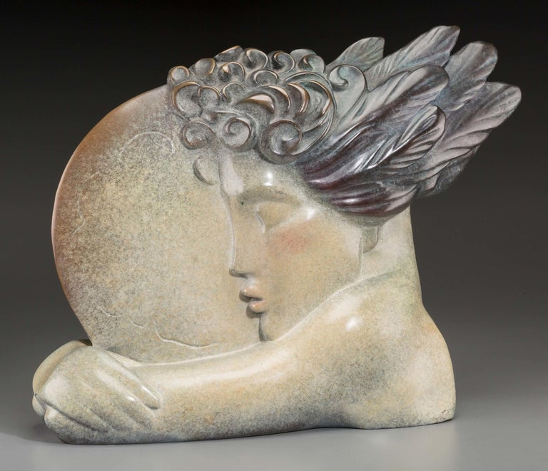 I LOVE THE WORLD (BRONZE) - Sculpture by Peter Max