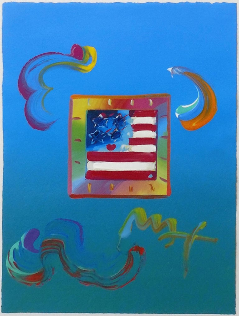 Peter Max Figurative Painting - FLAG (OVERPAINT)