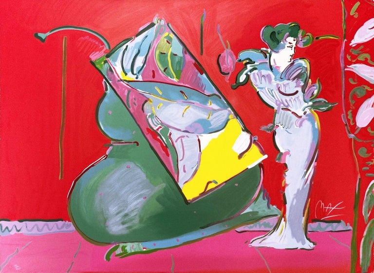 LADY ON RED WITH FLOATING VASE
