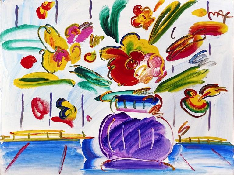 Peter Max Vase Of Flowers Series 80 Ver Iii 1 Painting For Sale