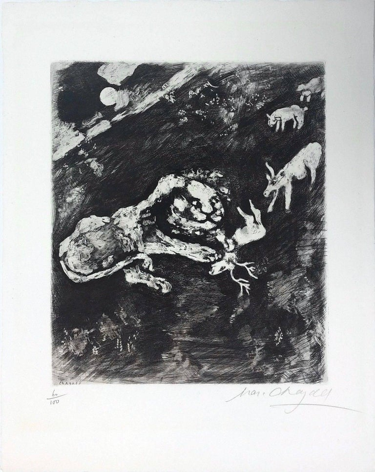 Marc Chagall Abstract Print - THE HEIFER, THE GOAT AND THE SHEEP IN COMPANY WITH THE LION