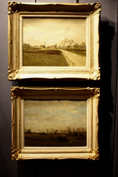 A Pair Of Swiss School Midcentury Oil On Canvas Landscapes