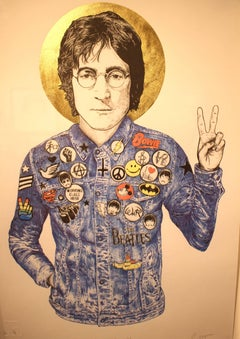 "John Lennon ""Working Class Hero"" Gold Leaf Print"