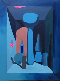 """Blue Still Life with Pink,"" 2016 Contemporary Oil Painting by Meg Franklin"