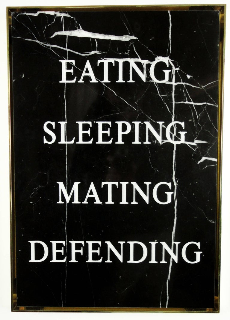 """Contemporary wall mounted textual sculpture in Carrara marble and hand made aluminum frame.  """"Eating Sleeping Mating Defending,"""" 2016 Carrara marble, acrylic paint, plated aluminum frame. Edition of three (3). 18 1/8 x 12 5/8 x 1"""