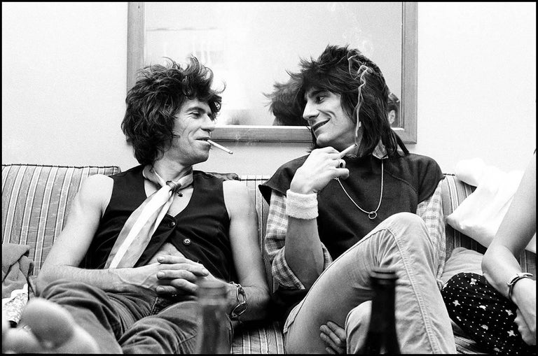 Keith Richards and Ronnie Wood Smoking New Barbarians Tour 1979