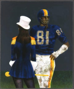 Couple in Blue by Joseph Hirsch, 1981, High School Football Player, Cheerleader
