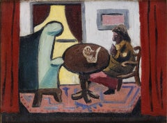 Interior, 1934, Modern Painting by Edgar Levy, Brooklyn Home