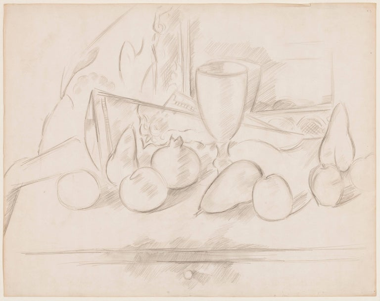 Large-scale graphite still life drawing by American Modernist master Marsden Hartley, who was among the finest of America's first generation of modern artists.  It also one of Hartley's greatest drawings due also to its large size, technical