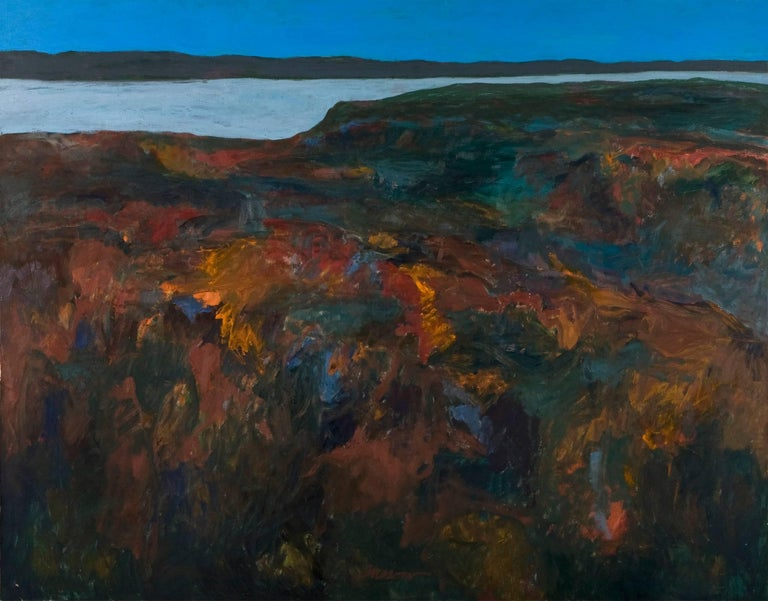 Alan Gussow Landscape Painting - Abstract Painting, along Hudson River, 1962