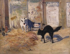American Modernist Painting, Cat and Dog Subject, Urban Rivals, 1911