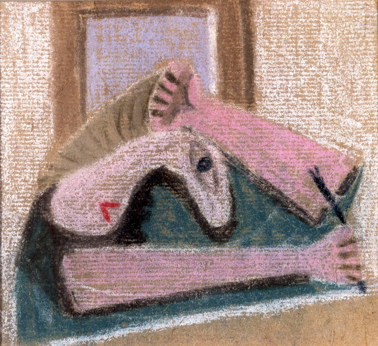 Edgar Levy Figurative Art - American Modernist Pastel by Edgar, Levy, Figure, c. 1932