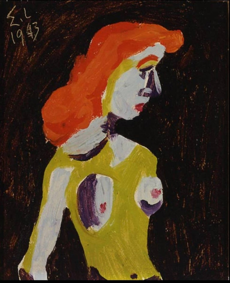 This charming painting of a red-headed woman in a green dress comes framed in a gold modernist frame, and bears labels on the back from an exhibition at the Harmon Meek Gallery and from C. Duncan Connelly Fine Art.    Edgar Levy is remembered as an