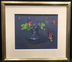 Still Life with Fuschia, Still life pastel, Red Flowers with a Blue Background